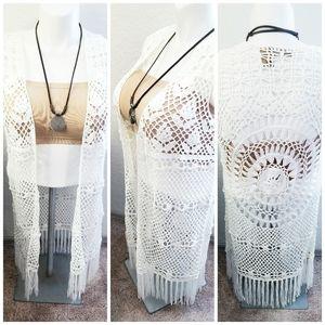 Crocheted Long Boho Fringed Vest | Wrangler | SP